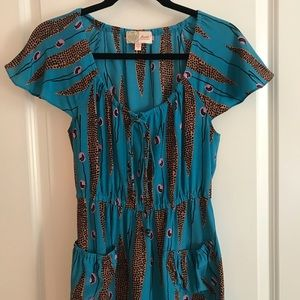 Tracy Reese Blue Silk Dress with Pockets